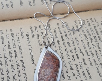 Fossilized Coral Pendant, fossil, sterling silver, bezel pendant