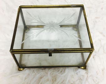 Glass Etched Jewelry Box / Vintage