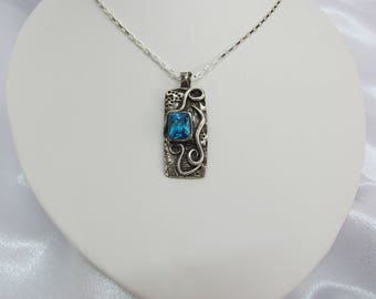 """Item 6097 - """"Caribbean Swirls"""" Handcrafted & sculpted 999 Fine and 925 Sterling Silver Rectangle Zircon Blue Cubic Zirconia Pendant"""