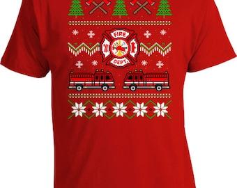 Ugly Christmas T Shirt Holiday Present Xmas Gifts For Men Firefighter Shirt Christmas Tree Merry Christmas Fireman TShirt Mens Tee FAT-604