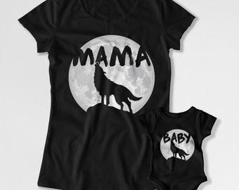 Mother And Son Matching Outfits Mommy And Me Clothing Mom And Daughter Gift For New Mom Baby Shower Mama Wolf Baby Wolf Bodysuit FAT-792-793