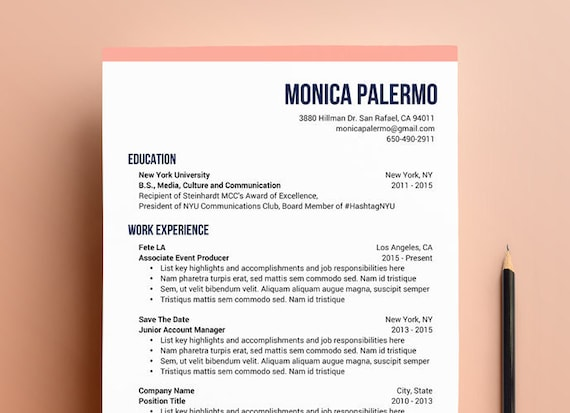 bold minimal resume template for microsoft word fully