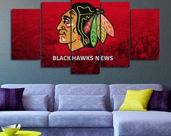 Blackhawks art etsy for Chicago blackhawk bedroom ideas