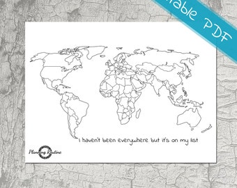 World Planner Stickers, Map of the World, Map of the World Printable,  Sticker Printable