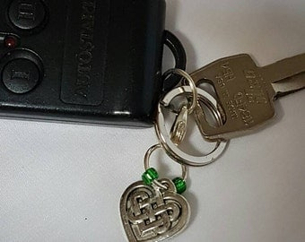 Celtic Heart Keychain, Celtic Heart Pendant, Celtic Heart Zipper Pull, Celtic Knot Handbag Charm, Celtic Heart Car Ornament, Celtic Heart