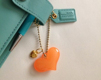 Planner Charm - Glossy Bright Orange Heart - Gold Heart - Dangle Charm - Gold Plated Charm