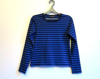 MARIMEKKO Womens Shirt Nautical Black Blue Striped Sailor Blouse Marine Sweater Long Sleeves Cotton Top Small Size