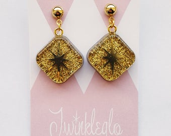 Vintage Reproduction - 1940s 1950s 1960s - Diamond Gold Starburst Glitter Lucite Dangle Drop Earrings - Made to Order New Vintage - Pinup