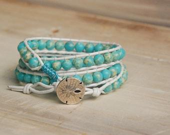 Ocean jasper, blue and white wrap bracelet, summer bracelet, beachy bracelet