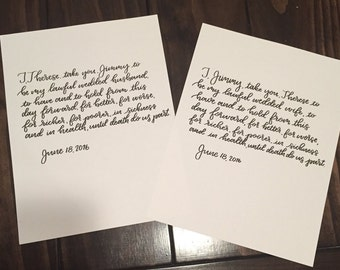 Hand Lettered Vows