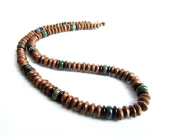 Mens wooden necklace, wood beaded necklace, brown necklace mens, stones wooden necklace, mens ethnic necklace, italian jewelry