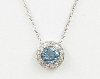 Aquamarine Diamond Necklace.7mm AAA Natural Aquamarine & 0.25 High Quality Diamonds.14k White Gold Necklace.Simple Round Dainty Pendant.