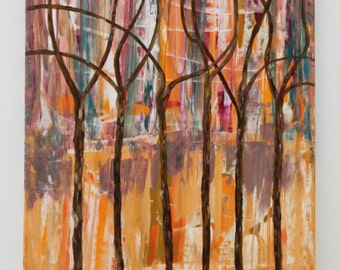 Abstract Trees in the Wind Acrylic Painting