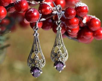 Victorian Sterling Silver Earring with Marcasite and Synthetic Amethyst