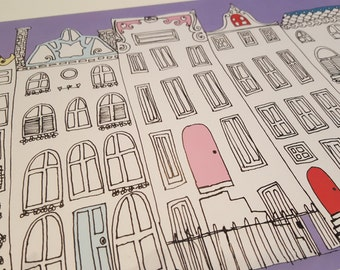 Amsterdam illustrative houses print