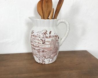Brown Transferware Pitcher, brown and white, pitcher, farmhouse decor, farmhouse kitchen, cottage decor