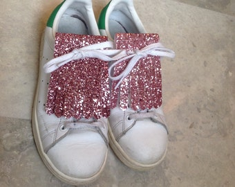 Pink glitter sneakers with laces leather fringes