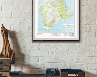 Hawaii Map / Topographic Map of Hawaii Print / Volcanoes National Park map / Hawaii Poster