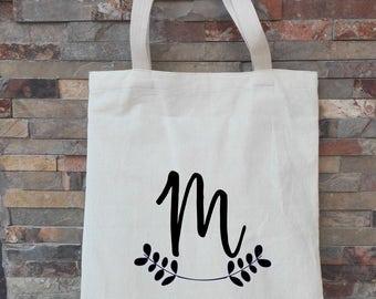 tote bags bridesmaid, bridesmaid tote, custom tote bag, bridal totes, bridesmaid gifts, laurel leaf monogram,initial tote bags ,initial tote