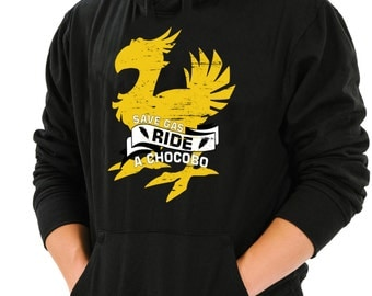 Ride A Chocobo Final Fantasy Inspired Black Hoodie