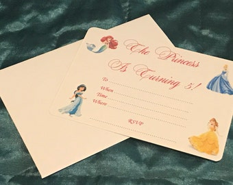 Disney Princess Party Invitations *Personalised With Age* * Pack Of 10*