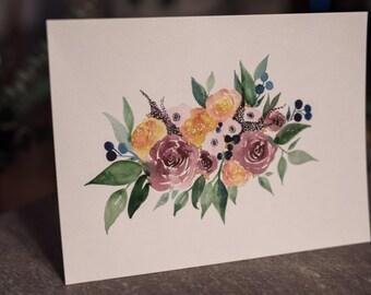 Original Floral Painting - Peach/Purple