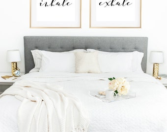 Inhale Exhale Print, Yoga Poster, Yoga Print, Yoga Wall Art, Zen Print, Breathe Sign, Relaxation Gifts, Wall Decor Living Room, Bedroom Art