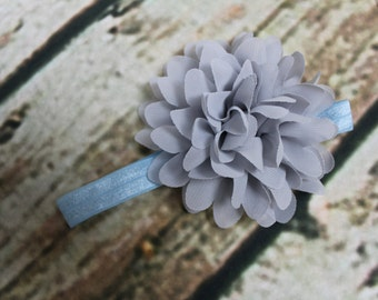 Ice Pale Blue Headband with Grey Chiffon Flower