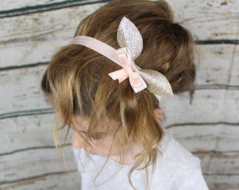 Bunny Bow Gold Pink Glitter Sparkly Headband