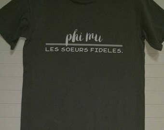 Phi Mu 108 Motto Shirt Comfort Color TShirt, Short Sleeve or Long Sleeve