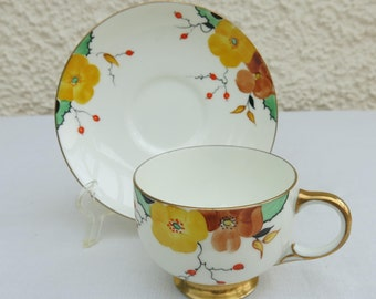 Vintage Art Deco Bone China Hand Painted Duo by Paragon China, Staffordshire, England
