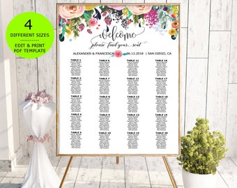 Wedding Seating Chart Template, DIY Floral Bohemian Wedding Seating Chart, Seating Poster Printable, Editable PDF instant download, boho,
