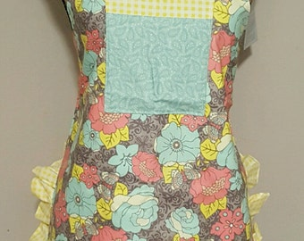 Cute Ruffly Apron in Soft Grays, Yelllows and Turquoise