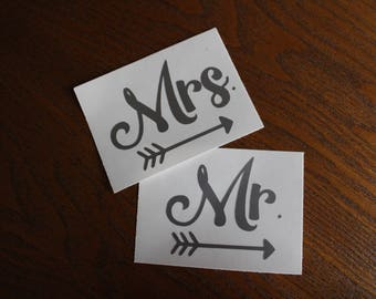Mr. & Mrs. decal set. wine glasses, wedding decal, champagne glasses