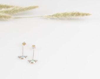 Earrings with opals stones / Opals earrings for women /Long earrings / Gold earrings / opals gold earrings / silver gold earrings /handmade