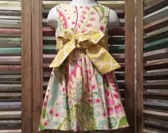 Girls summer dress, Girls dress, Girls spring dress,  Size 2 girls dress, 100% cotton,Toddler girl peasant dress, #62