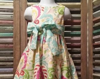 Girls summer dress, Girls dress, Girls spring dress,  Size 2 girls dress, 100% cotton,Toddler girl peasant dress, #71