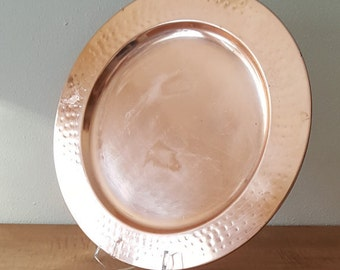 "Copper 13""  Serving Platter Decorative Hammered Copper Plate Copper Kitchen Decor French Kitchen"