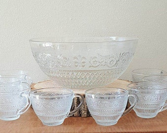 Clear Glass Fleur d Lis Punch Bowl 9 piece set by KIG Malaysia Clear Pressed Glass