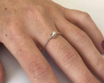 Silver Pearl Ring, Pearl Ring, Pearl Silver Ring, Sterling Silver Ring, Ring size 6.5, White Pearl Ring, White Pearl, Freshwater Pearl,
