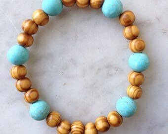 Turquoise with Wood Beads