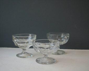 3 Small Vintage Glass Bowls, Trinket Bowls, Glass Coin Dishes, Trio of Bowls, Ornate Glass, Sweet Bowls, Dessert Bowls, Vintage Glassware