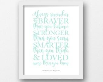 Always remember, Winnie the Pooh, Quote print, Disney quote, Minimalist, Modern wall art, Mint printable, Nursery decor, Children's art