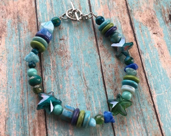 Blue Southwest Boho Bracelet, Stone Boho Bracelet, Southwest Bracelet, Jewelry. Bracelet