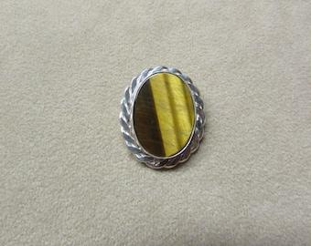 Gorgeous Tiger's Eye STERLING silver Pin/Pendant.