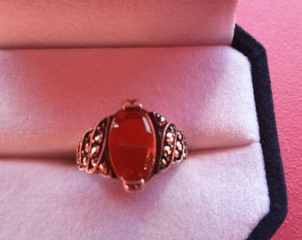Vintage 925 sterling silver ring carnelian and Marcasite - Valentines Day gift - Present -