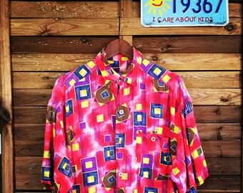Camisa Vintage Shirt 90s Pink Print Cavori Due