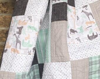 Modern Baby Quilt Handmade, Toddler Quilt, Mint & Gray Baby Quilt, Baby Boy Nursery Decor, Baby Boy Quilt, Patchwork Quilt