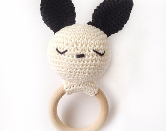 Sleeping Bunny on wooden ring