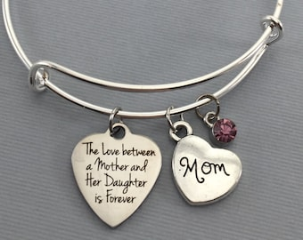 Mother Bracelet - Mother Gift - Bangle Bracelet - Gift for Mom - Mother Daughter Jewelry - Mother Charm Bracelet - Valentine Gift